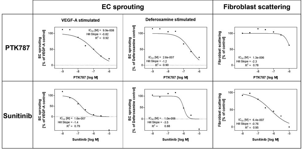 examples of graphs of endothelial cell sprouting for compound testing of anti-angiogenic substances