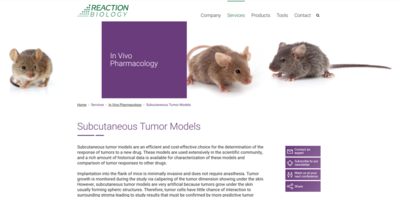 subcutaneous tumor model webpage thumbnail